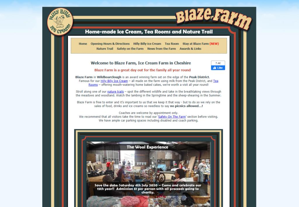 Blaze Farm website