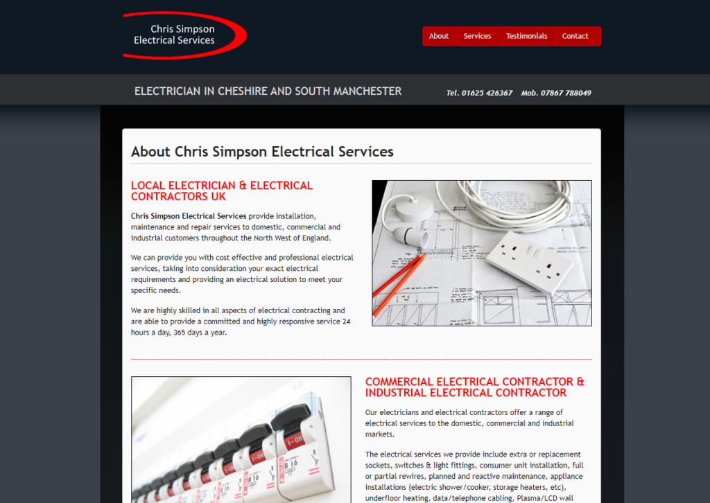 Chris Simpson Electrical website