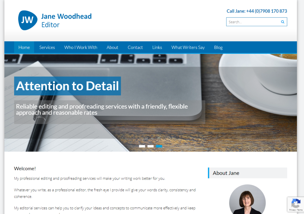 Jane Woodhead Editor website - built in WordPress