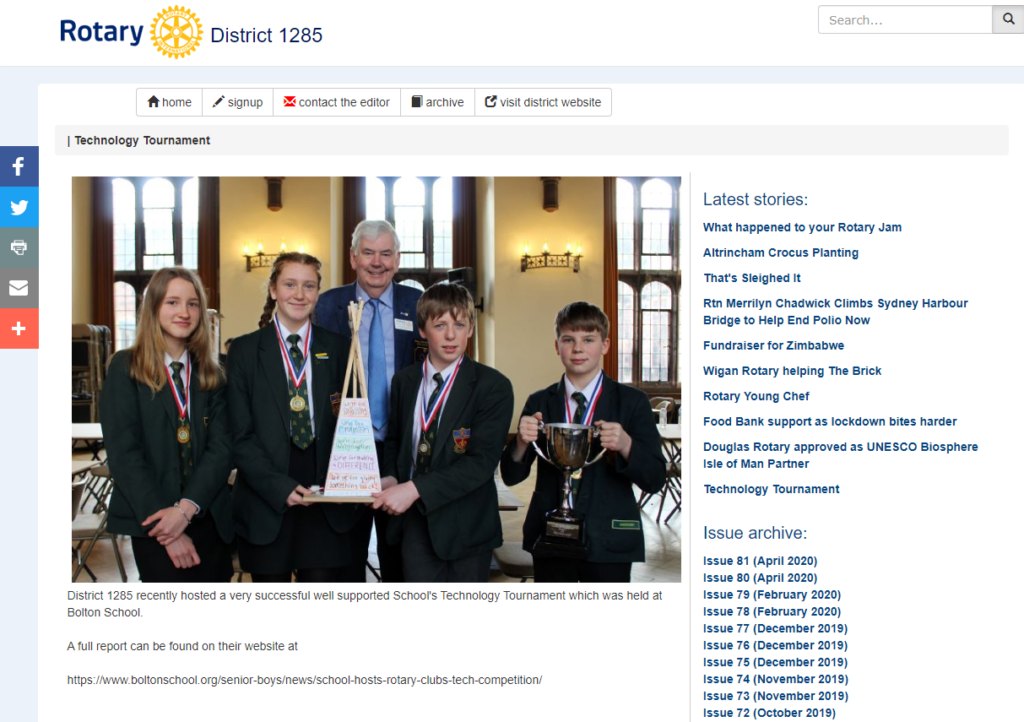 Rotary District 1285 News website