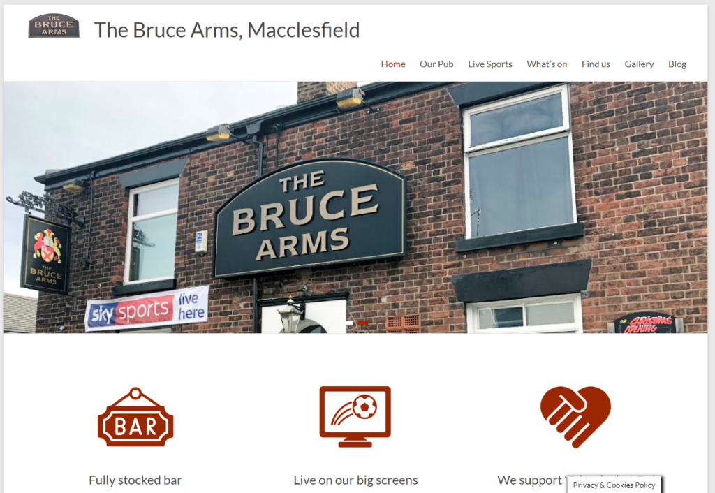 The Bruce Arms website - built in WordPress