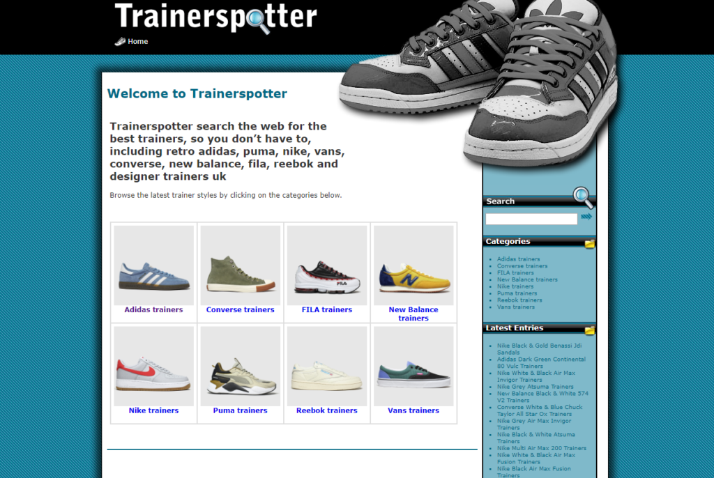 Trainerspotter website - built in WordPress