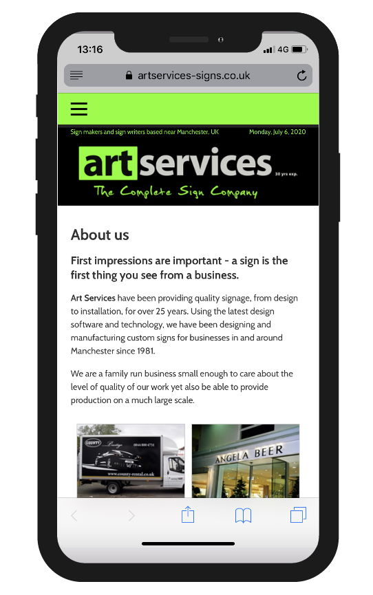 Responsive site for Art Services of Bramhall, Cheshire