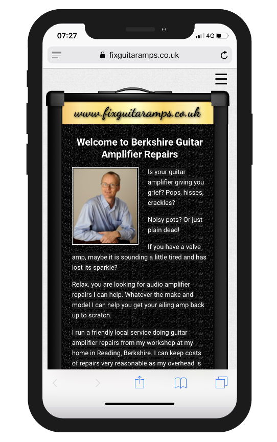 Responsive site for Berkshire Guitar Amplifier Repairs