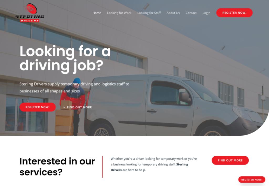 Sterling Drivers website - built in WordPress