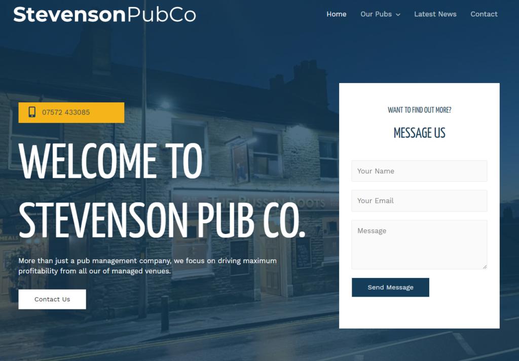 Stevenson Pub Co. website - built in WordPress